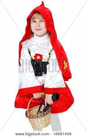 moderna Caperucita Roja con pistola