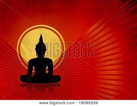 Black buddha silhouette - meditation concept