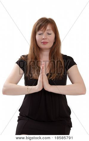 red-haired woman meditating