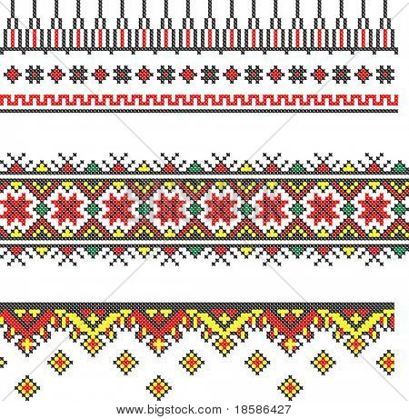 three seamless embroidered good like handmade cross-stitch ethnic Ukraine pattern