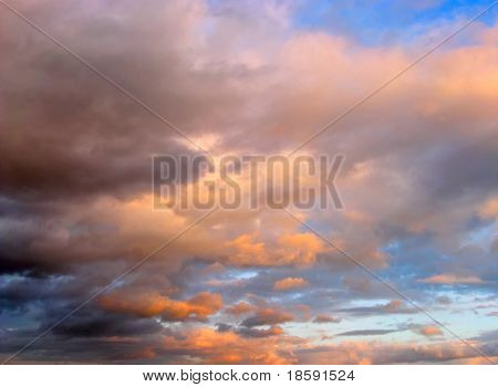 Cloudy sky in the sunset
