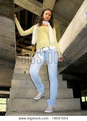 Girl on the concrete stairs
