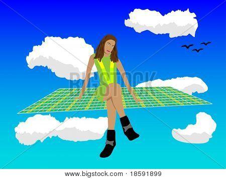 Girl on the flying carpets of dollars