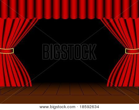 Vector open scene with red curtain
