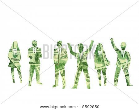 Silhouette of a business team from hundred dollars banknotes