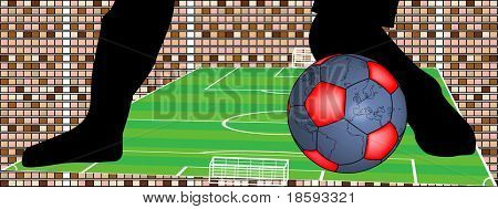 Vector - Abstract football bacground with ball in the shape of the globe