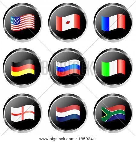 Schwarz vektor Flag buttons