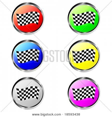 Colorful finish flag vector buttons
