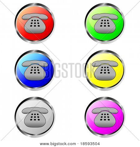 Colorful contact phone vector buttons