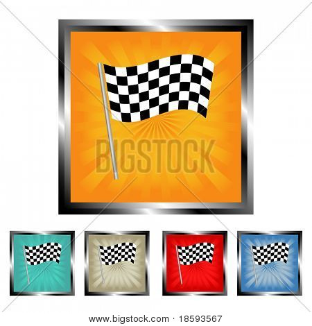 Finish flag square vector buttons