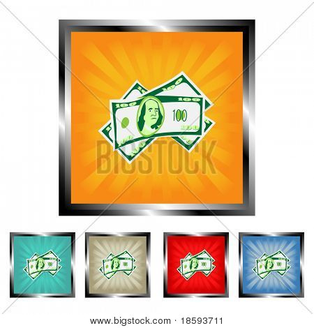 Square money vector buttons