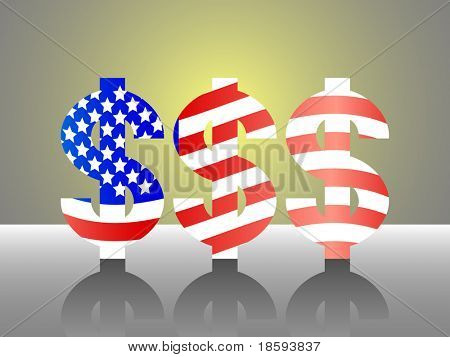 Three dollar signs in the shape of USA flag