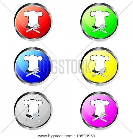 Colorful restaurant vector buttons