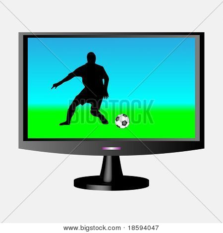 Footballer silhouette on the LCD screen