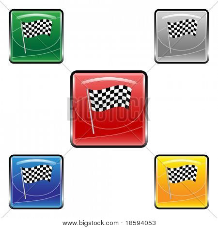 Square finish flag vector buttons