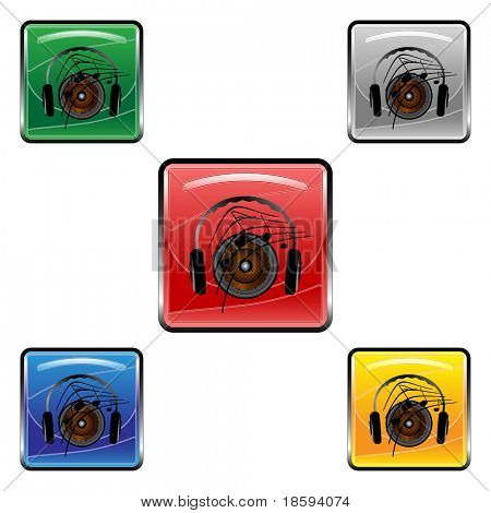 Square sounds vector buttons