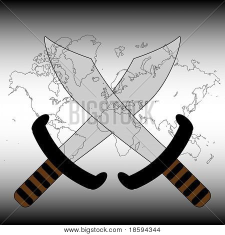 Crossed sword over the world map - vector