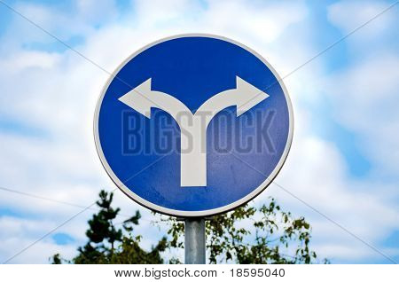 Road sign with opposite arrows