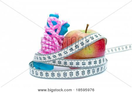 Jump rope, centimeter (show 60, ideal measure for waist) and apple