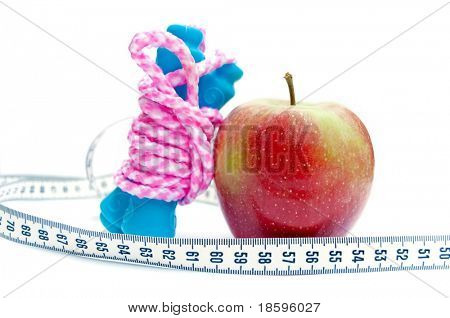 Jump rope, apple and centimeter (show 60, ideal measure for waist)