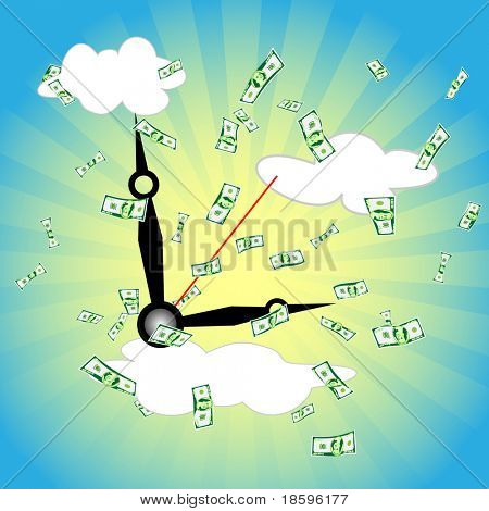 Clockwise on the sky and dollars banknotes falling - time is money concept