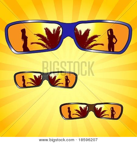 Sunglasses with girl and palm silhouette reflection