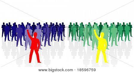 Blau grün - Teamarbeit Konkurrenz im Vergleich