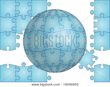 Puzzle and puzzle globe