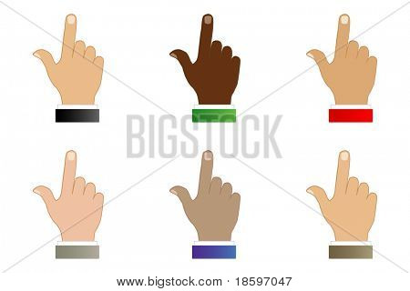 Set of six index fingers various races and color of sleeve
