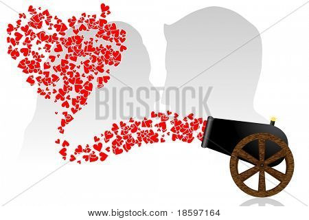 Hearts from cannon and couple silhouettes in the background