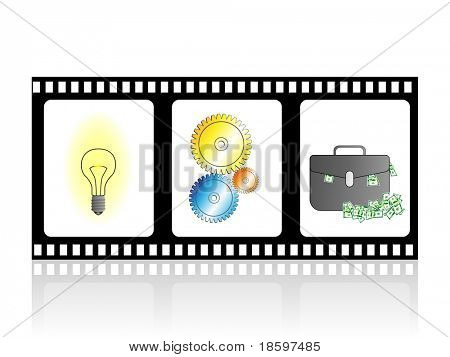 Idea, work and money on the filmstrip
