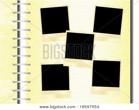 Five blank instant photo frames on the filmstrip