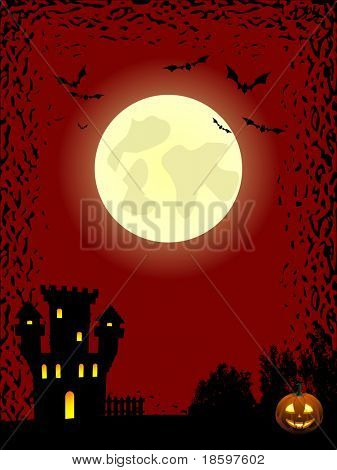 Full moon and bats over the haunted castle