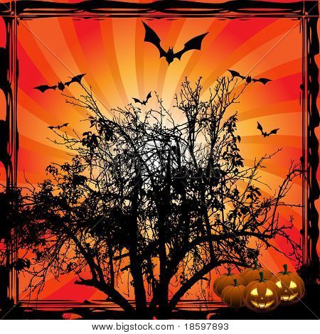 Tree and bats on the burst background