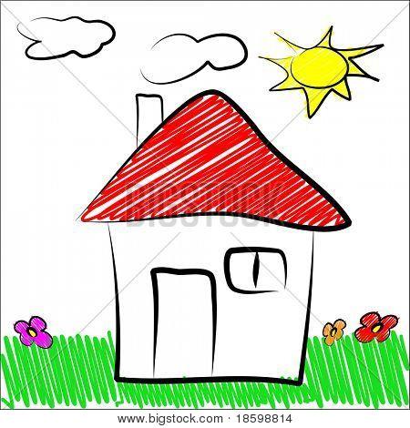 Children draw house