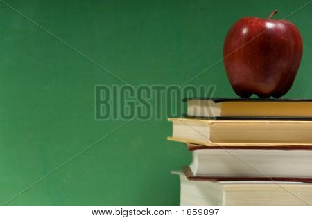 School Books On Green