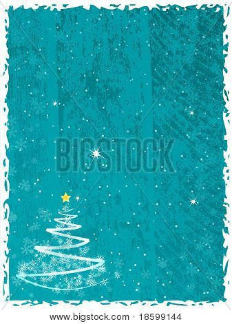 Abstract Christmas tree on the blue splotchy background