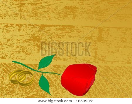 Red rose and wedding rings on the splotchy background