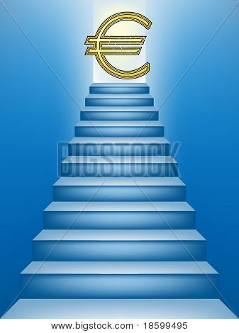 Euro sign on the top of the stairs