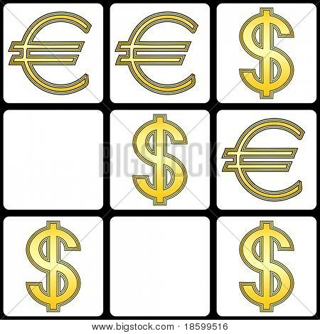 Euro vs Dollar tic tac toe