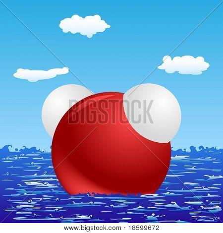 H2O molecule on the sea