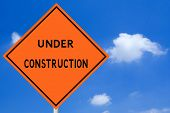 stock photo of road construction  - Under Construction Sign - JPG