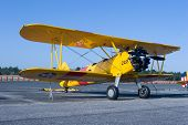PALM COAST, FLORIDA - MARCH 27: A Bi-plane model on display at the Wings Over Flagler Air Show at th
