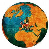 European Union Territory With Flags Over Globe Map poster