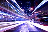 stock photo of hong kong bridge  - modern city at night - JPG