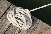 Mooring rope on cleat