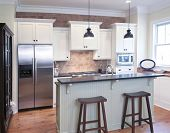 pic of wainscoting  - elegant kitchen with mix of granite - JPG