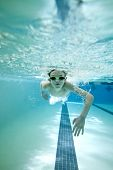image of lap  - underwater shot of boy swimming laps in pool - JPG