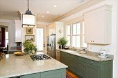 beautiful decorated kitchen with white and green cabinets