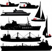 image of cruise ship  - Set of silhouettes of ships and yachts - JPG